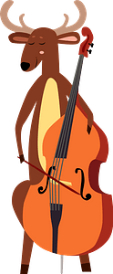 Deer playing double bass clipart