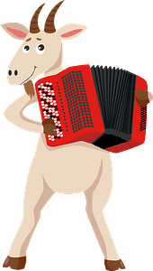 Goat playing accordion clipart