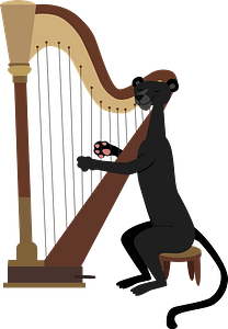 Panther playing arfa clipart