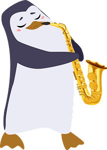 Penguin playing saxophone clipart