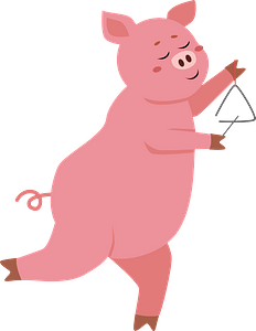 Pig playing triangle clipart