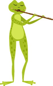 Toad playing flute clipart