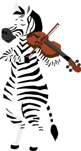 Zebra playing violin clipart