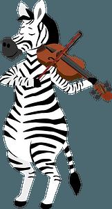 Zebra playing violin clipart