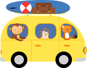 Animals in the bus clipart