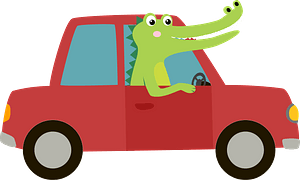 Crocodile and car clipart