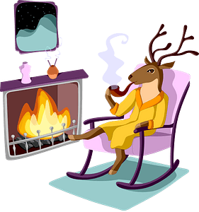Deer resting by the fireplace clipart