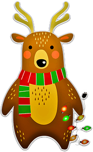 Christmas deer with garland clipart
