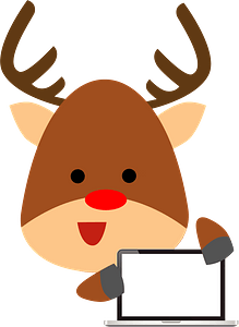 Deer with laptop clipart