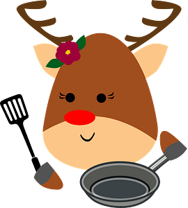 Deer with skillet and skimmer clipart