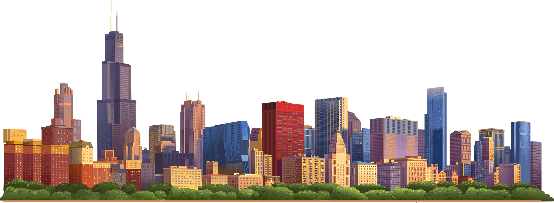 chicago city buildings vector with title clipart. Commercial use GIF, JPG,  PNG, EPS, SVG, AI, PDF clipart # 408560 | Graphics Factory