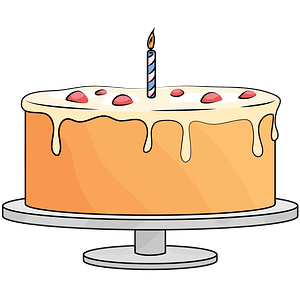 Cake with a candle clipart