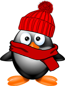 Penguin in hat and scarf clipart