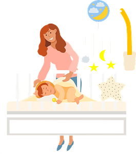 Mom and sleeping baby clipart