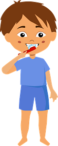 Boy brushing teeth clipart