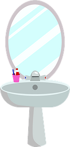 Washbasin with a mirror clipart