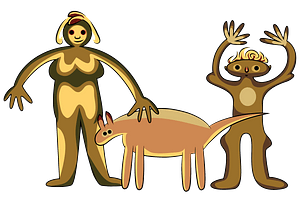 Aboriginal art man and woman with domestic animal clipart