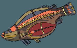 Aboriginal Cave Art Fish clipart