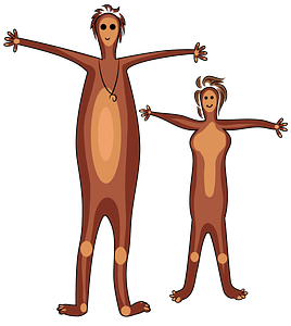 Aboriginal painting man and woman clipart