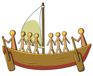 Aboriginal painting of the sailing boat clipart