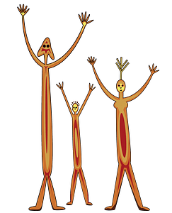 Aboriginal Rock Art Family clipart