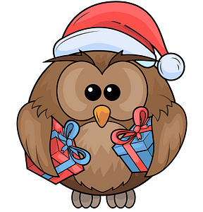 Xmas Owl with Presents clipart