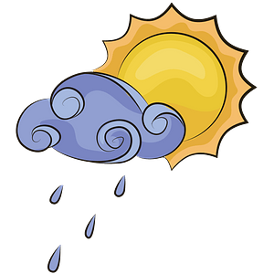Sun and rainy cloud clipart