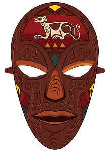 African wooden mask clipart