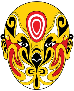 Chinese opera mask orange clipart