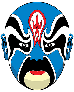 Chinese opera mask blue clipart
