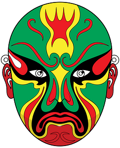 Chinese opera mask green clipart
