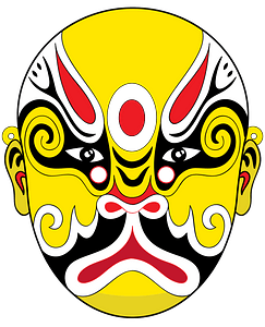 Chinese opera mask yellow clipart