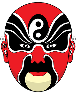 Chinese opera mask red clipart