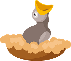 Baby chick in nest clipart