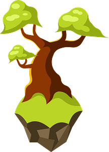 Tree flying island clipart
