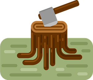 Tree stump with axe clipart