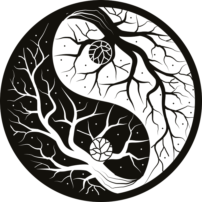 Yin yang tree clipart