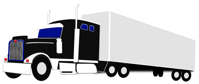 Semi-trailer truck with container clipart