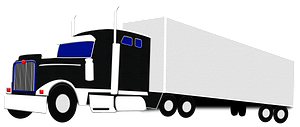 Semi-trailer truck with containerのクリップアート