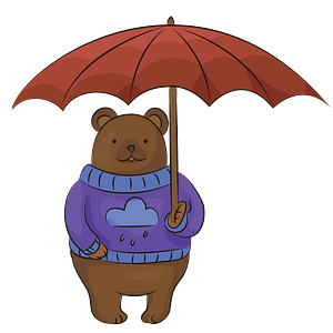Bear with umbrella clipart