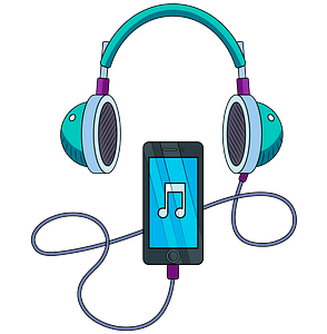 Music player and headphones clipart