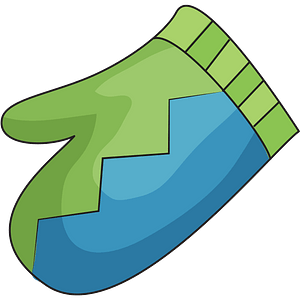 Green and blue mitten clipart