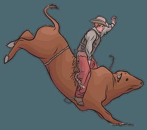 Cowboy Riding a Bull clipart