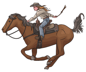 Cowgirl Riding Horse clipart