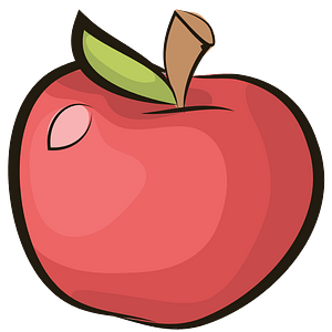 Red apple with leaf clipart