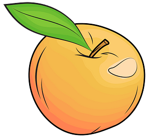 Yellow apple with leaf clipart
