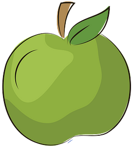 Green apple with leaf clipart