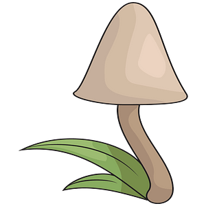 Mushroom in the grass clipart