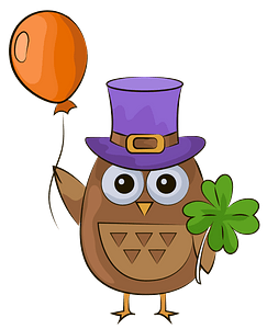 St. Patrick owl with balloon clipart