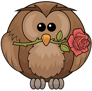 Owl with rose clipart